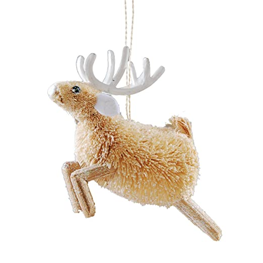 Glittered Buri Fiber Leaping Deer Ornament by Gallery II