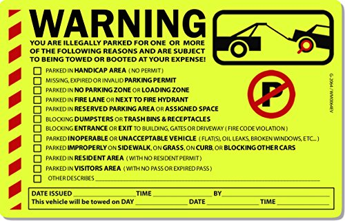 "10 Yellow Fluorescent Multi Reason Warning Violation No Parking Car Auto Sign Stickers 8"" X 5"""