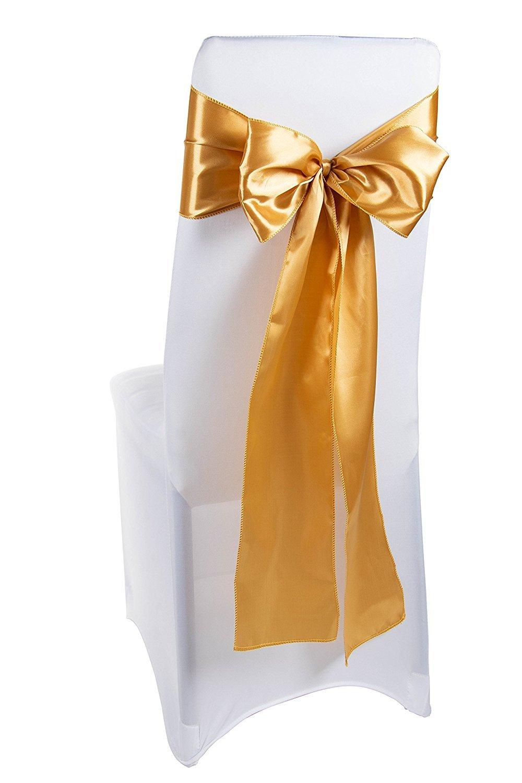Juvale Gold Chair Sashes 50 Pack Wedding Chair Bows Chair