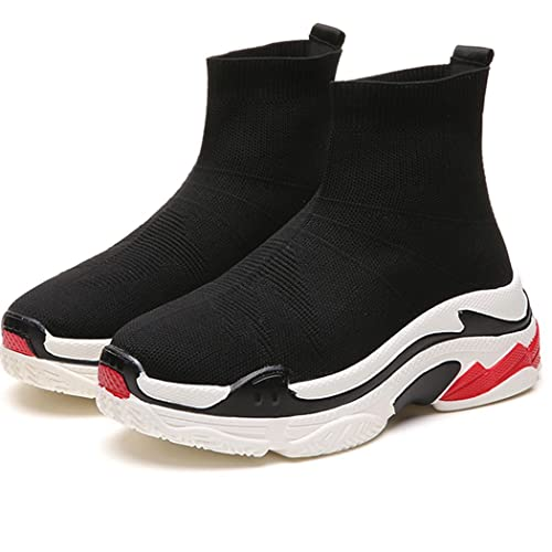 ff2b98ef0f89a Kamma Unsexi Sock High-top Black Shoes Stretch Knit Fashion Sneakers  Lightweight Sport Walking Slip On Shoe