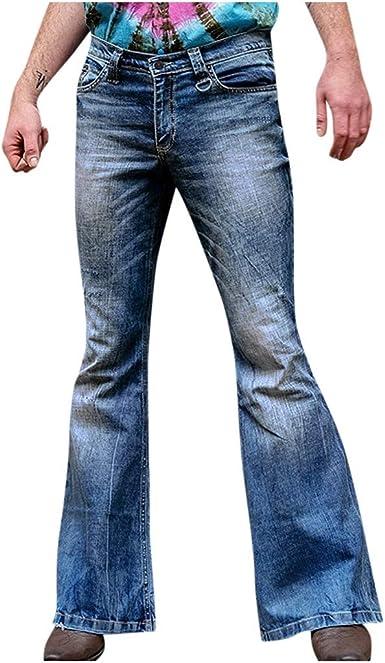 Nusgear Pantalones Vaqueros Para Hombre 80s Pantalones Casuales Moda Jeans Sueltos Retro Ocasionales Elasticos Pantalon Fitness Pants Largos Pantalones Ropa De Hombre Pantalones Acampanados Vpass Amazon Es Ropa Y Accesorios