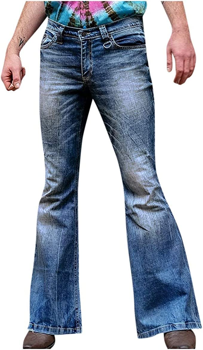 Vekdone Men S Bell Bottoms Jeans High Waist Strentch Bootcut Flared Jean Wide Leg Denim Pants Plus Size At Amazon Men S Clothing Store