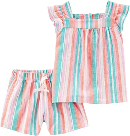 Carters Toddler Girls Orange /& Pink Pastel Stripes Outfit Shirt /& Shorts Set