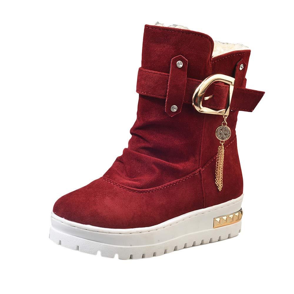 Zapatillas para Mujer by BaZhaHei, Antideslizante para Mujer Mantenga cálidas borlas Botas de Invierno Botas de Nieve Botines Zapatos Botines de Nieve con ...