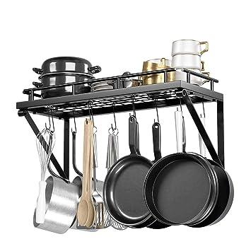 ZXT El Soporte de Pared para Cocina de Hierro Forjado Incluye 12 Ganchos para una fácil instalación de los Utensilios de Cocina (Blak): Amazon.es: Hogar
