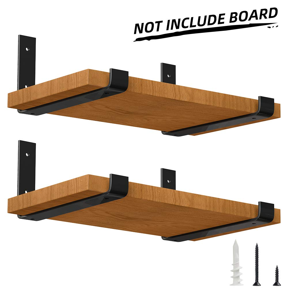 LuckIn Heavy Duty Shelf Bracket 12 Inch, Rustic Black Wall Bracket for Floating Shelf, Forged Steel Shelf Bracket, 4 Pack