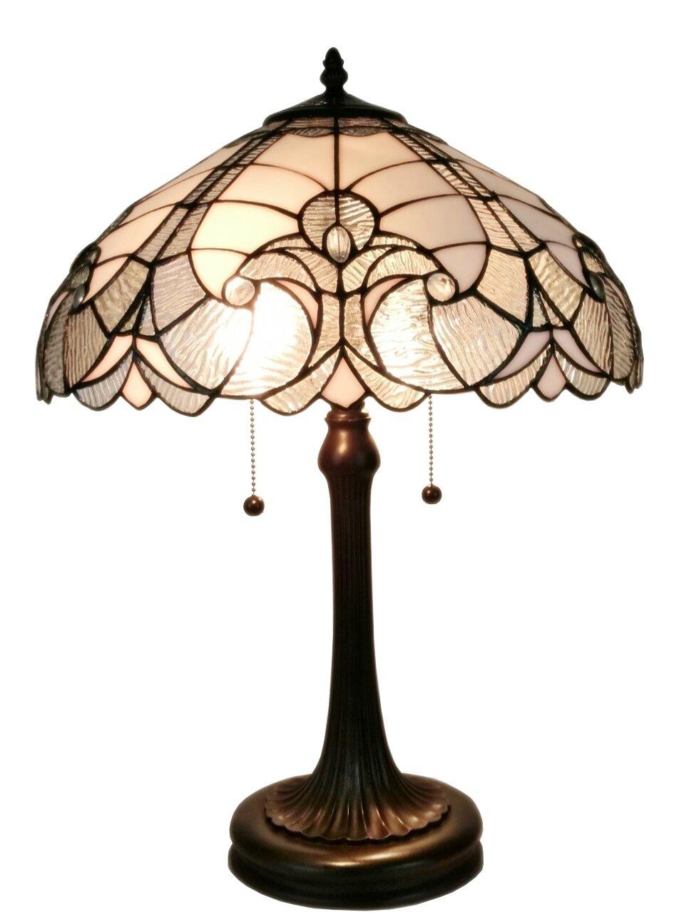 Amora Lighting AM204TL16 Tiffany Style White Table Lamp, 23''