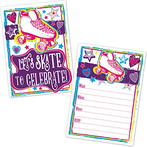 Roller Skating Birthday Party Invitations for Girls - Roller Rink Skate Party Invites (20 Count with Envelopes) (Birthday Party Invitation Invite)