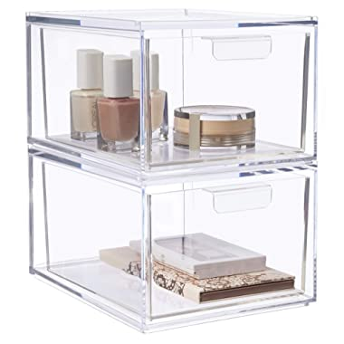 STORi Audrey Stackable Cosmetic Organizer Drawers 4-1/2  Tall | Set of 2 Clear