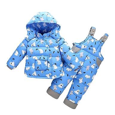 LSERVER Mädchen Junge Süß Daunenjacke+ Stepphose Winterjacke mit Kapuze Down Jacket 2tlg Bekleidungsset verdickte Winterjacke für Junge Mädchen