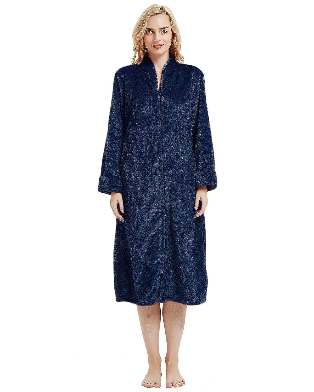 LAPAYA Women s Fleece Robe Calf Length Long Sleeve Fluffy Plain Zip Front  Bathrobe at Amazon Women s Clothing store  04968f2ab