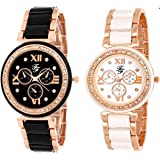 Fashion Fanda Analogue Black White with Artificial Leather Strap Quartz Women's Watch -Pack of 2