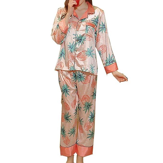 BOYANN Piña Pijamas Mujer Primavera Otoño de Satén Ropa de Dormir, Naranja M