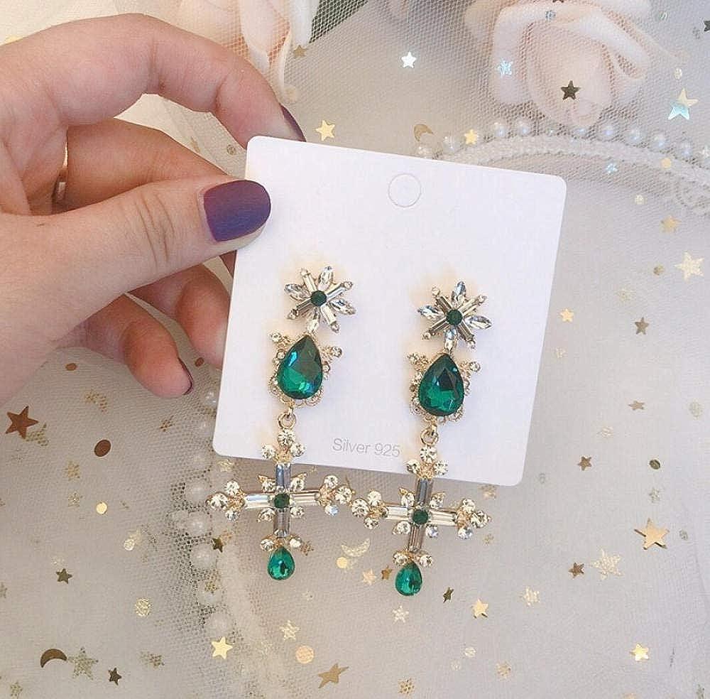 PendientePendientes colgantes cruzados de cristal verde vintage para regalos de joyería de fiesta de temperamento de temperamento de mujer