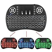 Mini Wireless Keyboard 2.4GHz with 3 Colors Backlit Touchpad Mouse Built-In Rechargable Li-ion Battery Air Mouse By Pendoo