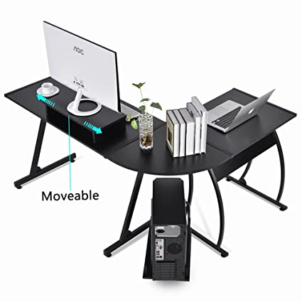 L Shaped Office Computer Desk, Large Corner PC Table Laptop Workstation  With Mobile Computer