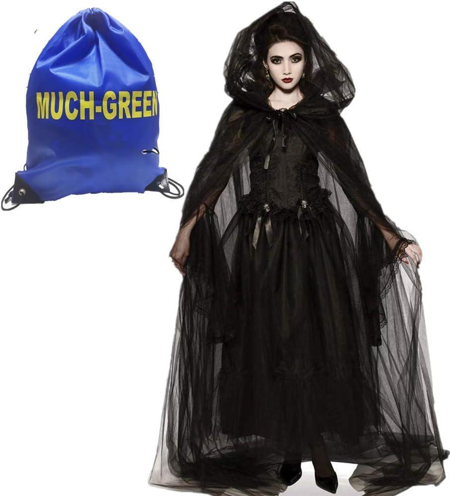 Much-Green Disfraz de Bruja,Novia Vampiresa de Mujer Halloween,Vestido de Vampira para Disfraces Fiesta(Novia Bruja-M)