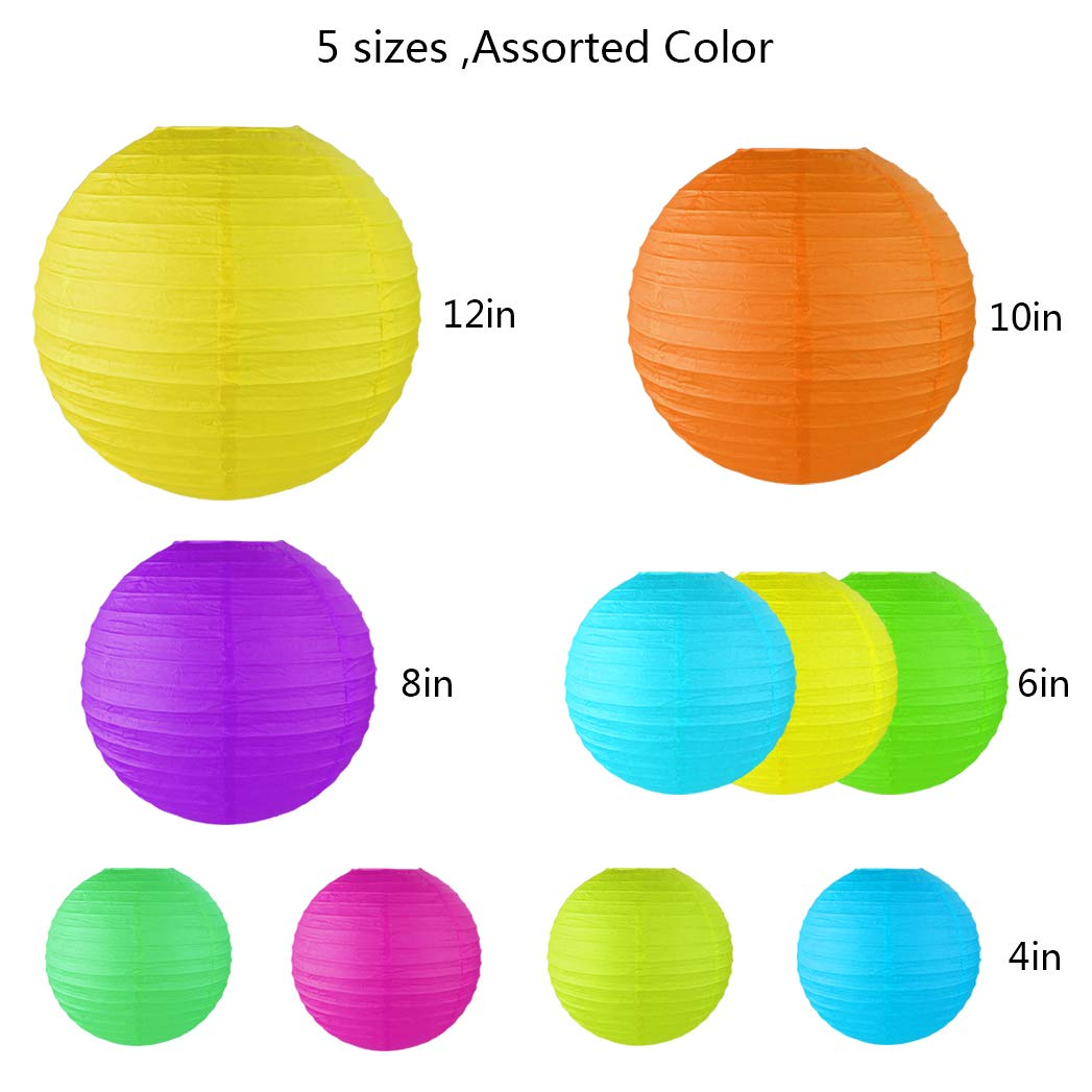 Miayon 20PCS Paper Lanterns, (Random Color 5 Sizes), Hanging Decorations for Home Parties, and Weddings,Baby Shower by Miayon (Image #2)