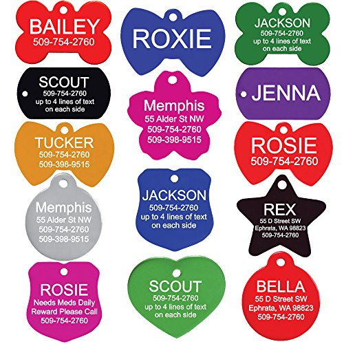 Premium Custom Engraved Pet ID Tags for Dogs & Cats - Personalized on Front & Back, Sizes & Shapes. Bright, Durable Anodized Aluminum.