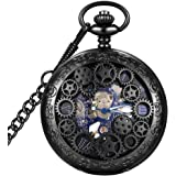 LYMFHCH Steampunk Blue Hands Scale Mechanical Skeleton Pocket Watch with Chain Mens Womens Watch Christmas Graduation…