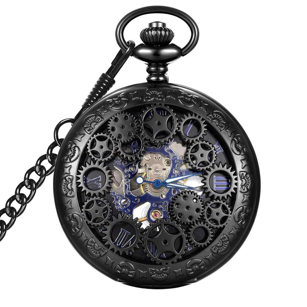 LYMFHCH Steampunk Blue Hands Scale Mechanical Skeleton Pocket Watch with Chain As Xmas Fathers Day Gift by LYMFHCH