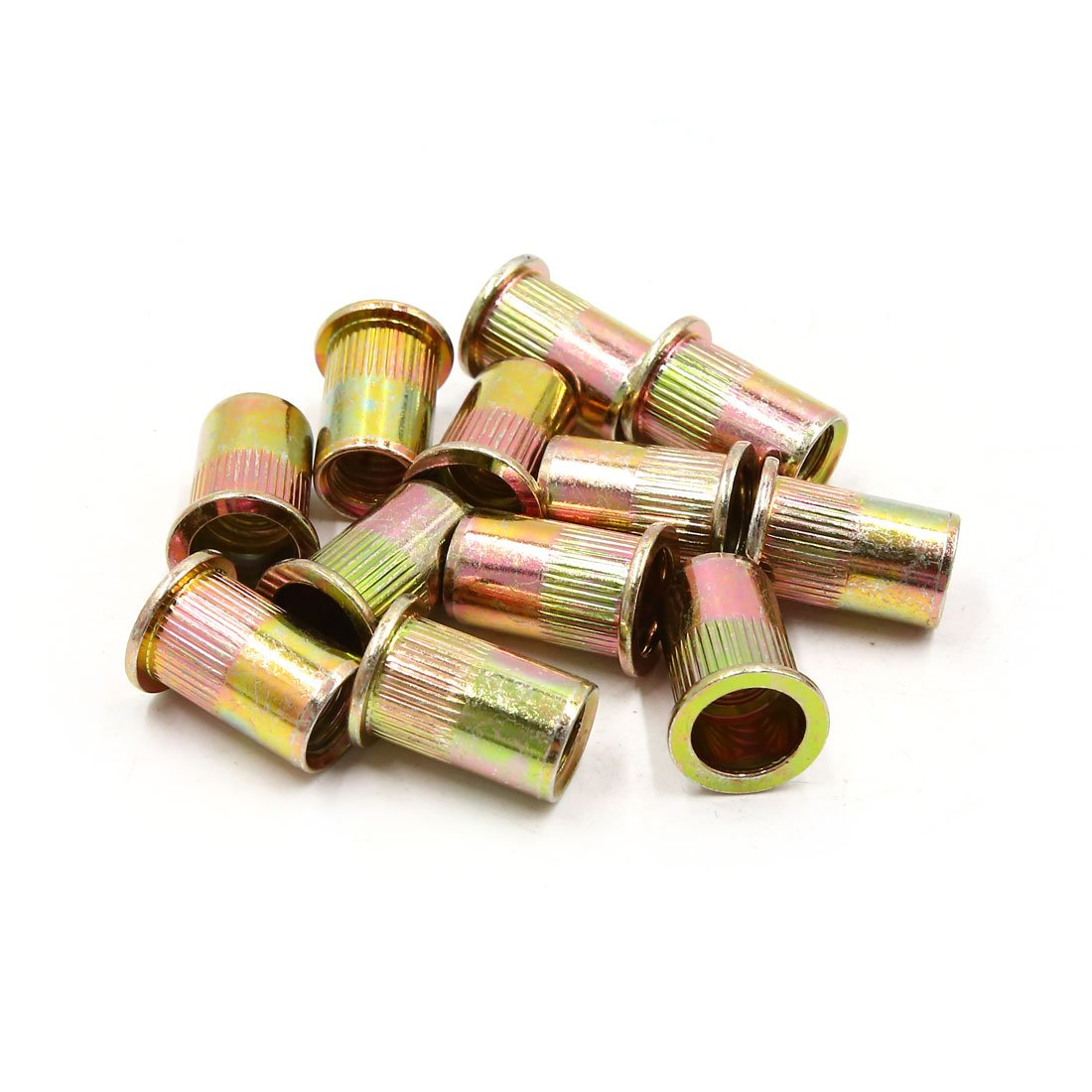 uxcell 12pcs 1/2 inch Thread Bronze Tone Flat Head Rivet Nut Insert Nutsert for Car