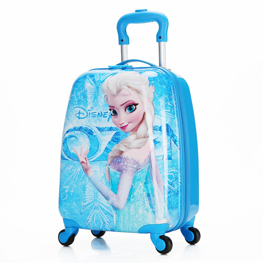 MOREFUN Frozen 18 Inch Luggage Hard Side Spinner Suitcase Carry on Luggage Rolling (Blue princess)