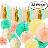 Paxcoo 32 Pcs Mint Tissue Pom Poms Paper Fans Tassel Garland for Baby Shower Party Decorations