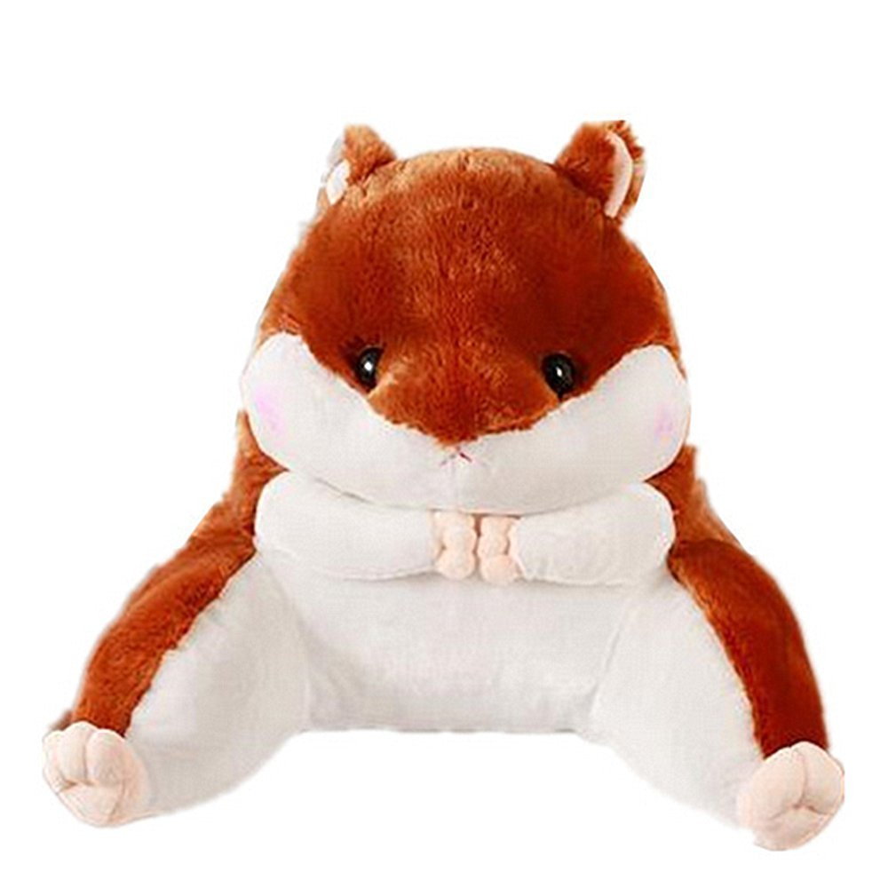 Lovely Hamster Waist Back Pillow Animals Soft Plush Sofa Bed Car Lumbar Cushion (Dark Brown)