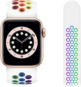 DAXIN Compatible for Apple Watch 44mm Band Soft Silicone Compatible with Apple Watch Bands 38mm 40mm 42mm 44mm Sport for Women Men i Watch Bands 38mm 40mm 42mm 44mm Colorful