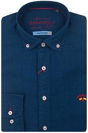 Spagnolo CM Cuello Boton Denim 1640 Casual, Azul (Camisa Jacquard Azul Oscuro 001404), X-Large (Tamaño del Fabricante:05) para Hombre: Amazon.es: Ropa y accesorios