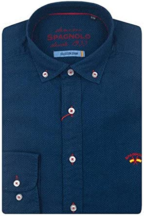 Spagnolo CM Cuello Boton Denim 1640 Casual, Azul (Camisa Jacquard ...