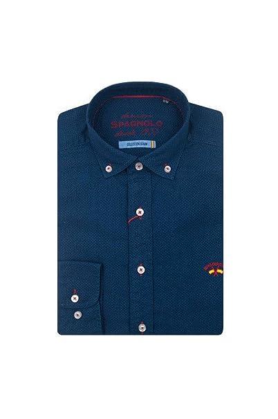 Spagnolo CM Cuello Boton Denim 1640, Casual para Hombre, (Camisa Jacquard Azul Oscuro
