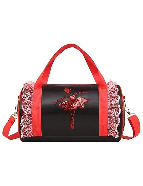 besbomig Bolsas de Baile para niñas Bandolera Diseño de Princesa cilíndrico,Rosado, Bolso De Deporte Personalizable Nombre Y Apellido