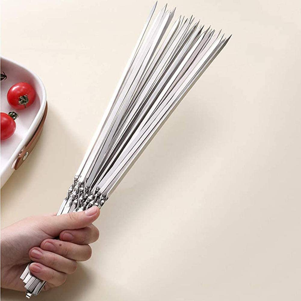 Generies Outil réutilisable de Gril d'aiguille de Barbecue en métal de Kebab,Gril de Granule de brochettes de BBQ 20pc Silver
