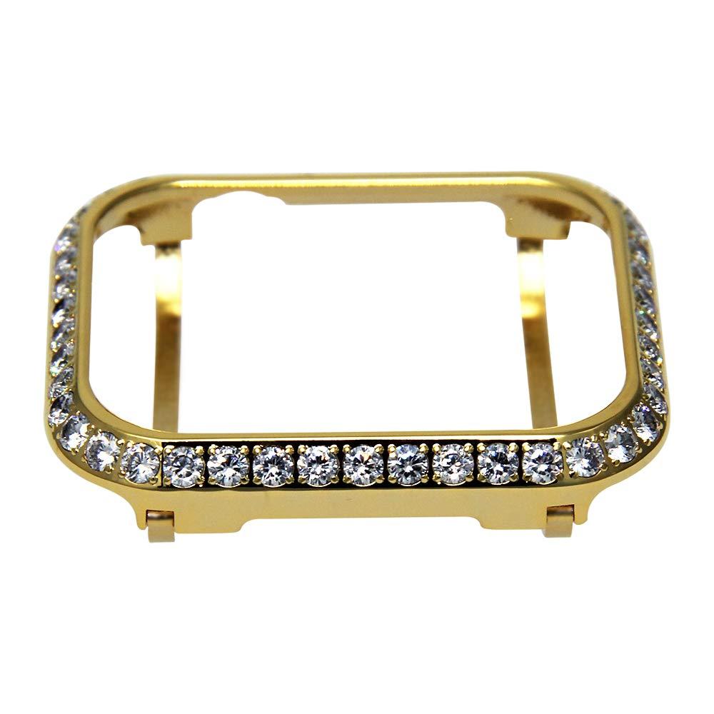 SUN3FLOWER 3.0mm Big Size Bling Rhinestone Diamond case Crystal Bezel Compatible with Apple Watch Series 3 Series 2 Series 1 38mm 42mm Series 4 40mm 44mm-Gold (44mm) by sun3flower
