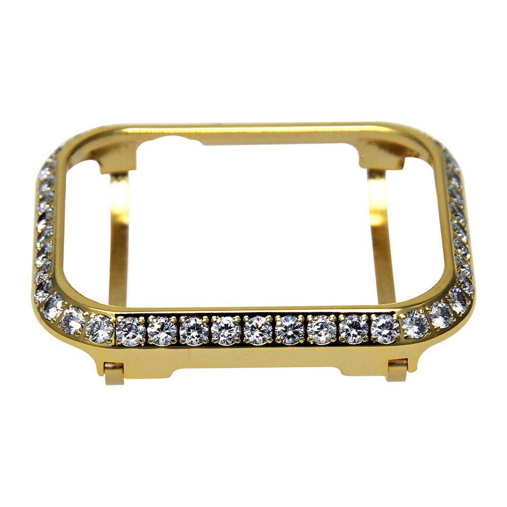 3.0mm Big Size Bling Rhinestone Diamond case Crystal Bezel Compatible with Apple Watch Series 3 Series 2 Series 1 38mm 42mm Series 4 40mm 44mm-Gold (44mm)