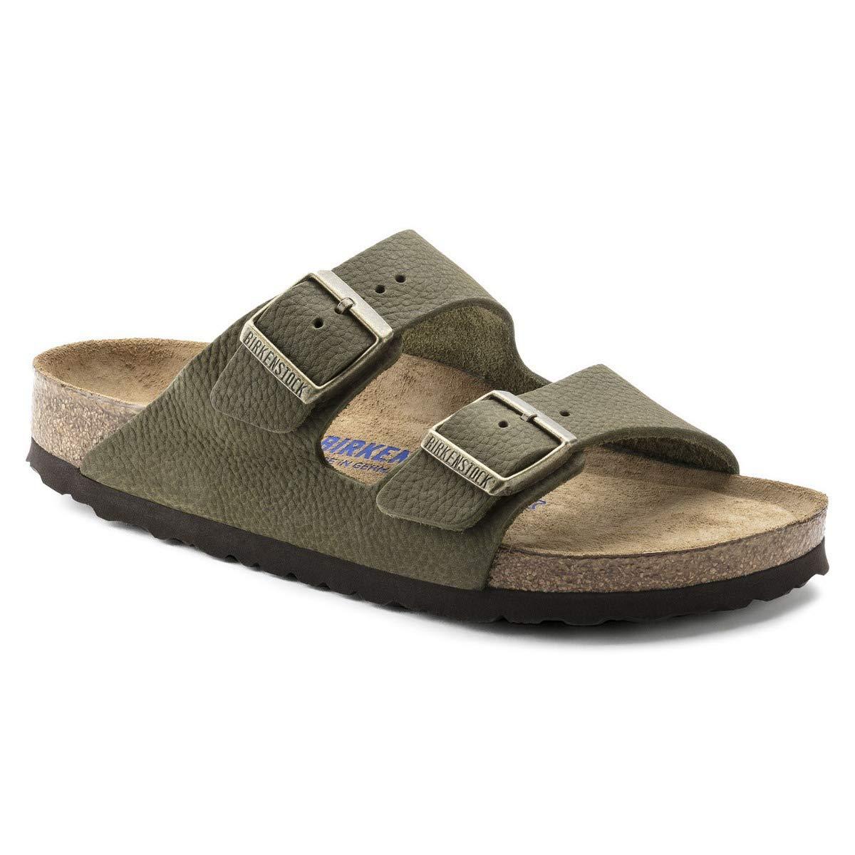 sports shoes 1f4d2 905be Birkenstock Arizona Nubukleder Soft-Fußbett Steer Khaki Größe 41 Schmal