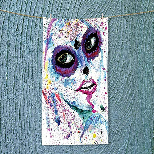 Fast Dry Towel Grunge Halloween Lady with Sugar Skull Make up Creepy Dead Face Gothic Woman Excellent Water Absorbent Antistatic -