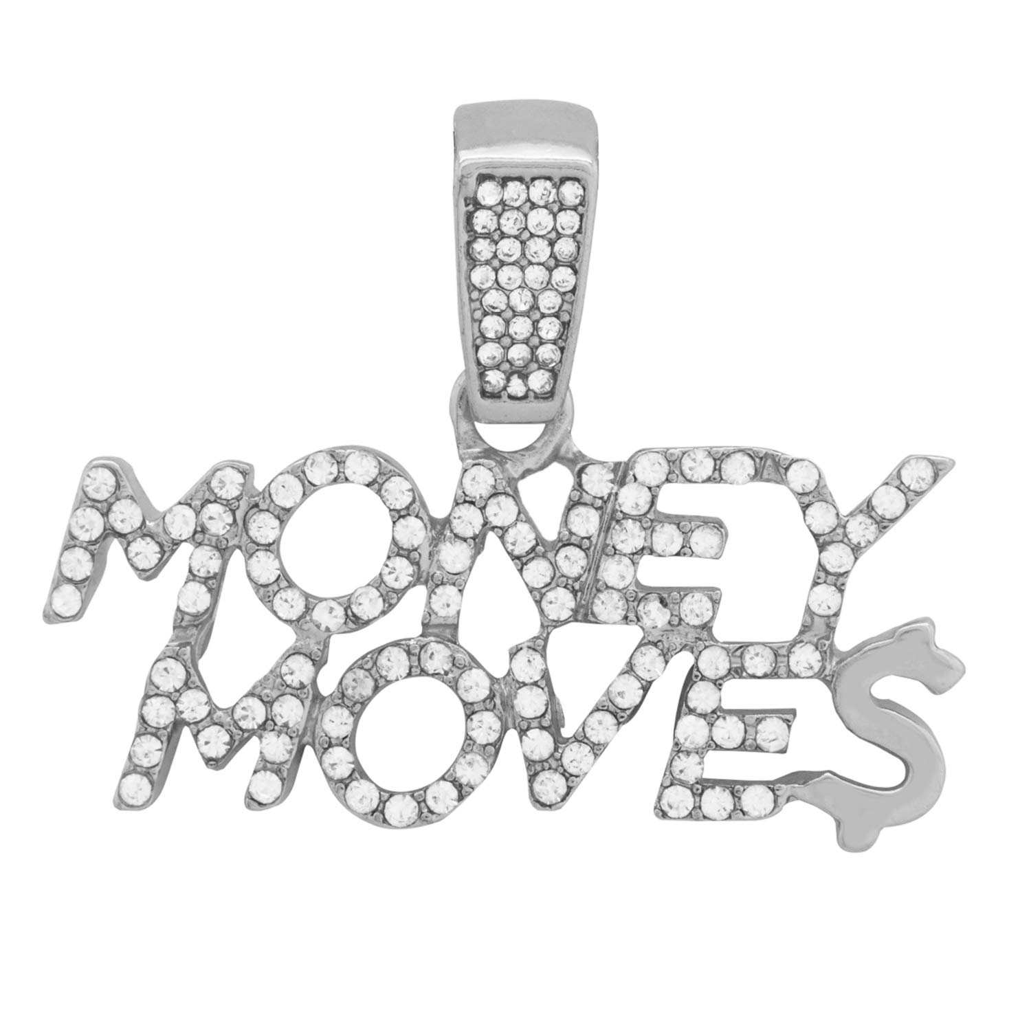 White Gold-Tone Hip Hop Bling Iced Out Cardi B Money Moves Letter Pendant with 16 Tennis Chain and 24 Rope Chain