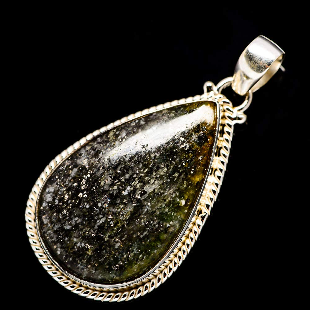925 Sterling Silver Vintage PD685805 - Handmade Jewelry Ana Silver Co Black Dot Rutile Quartz Pendant 2 Bohemian