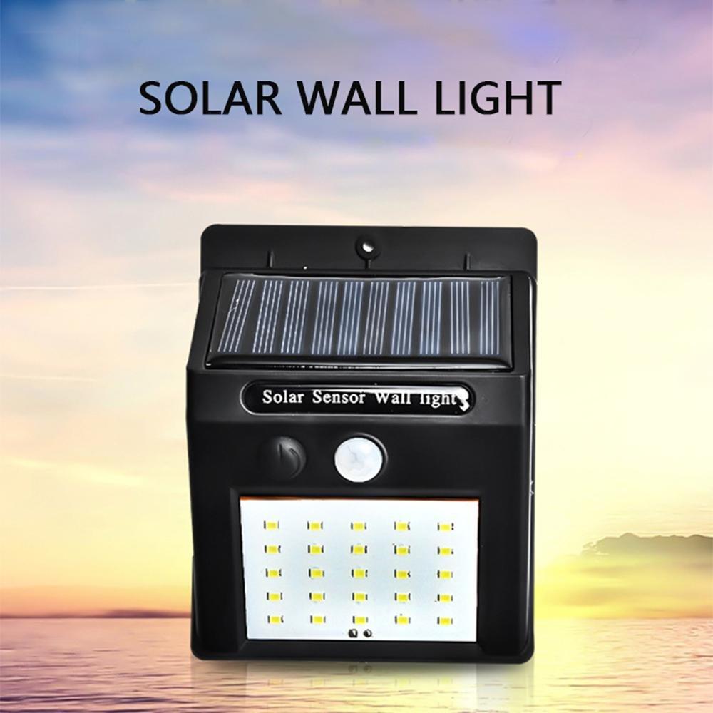 KOBWA Luces de seguridad con sensor de movimiento, gran angular, 20 LED, energía solar, luces de pared impermeables, para jardín, caminos, escaleras, patio, ...