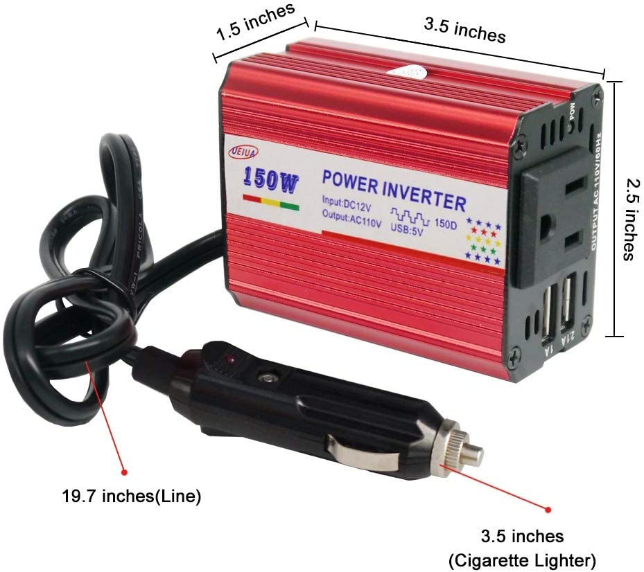 150W Car Power Inverter Durable Metal Shell DC 12V to 110V AC Car Inverter with Dual USB Ports Car Charger Adapter