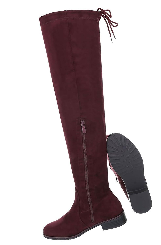 Damen Schuhe Overknee Stiefel Weinrot Moderne Weinrot Stiefel 713642