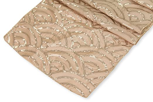 Christmas Tablescape Decor - Luxurious Champagne Taffeta Sparkling Sequin Mermaid Scales Table Runner