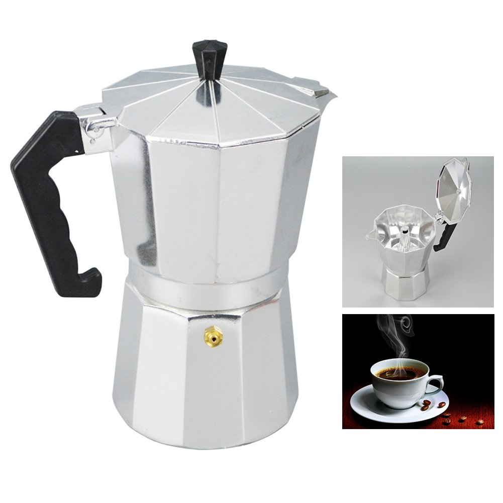 Italian Espresso Maker, Aluminum 1/3/6/9/12 Cup Latte Mocha Coffee Pot Stove Top Macchinetta Made Of Stainless Steel With Copper Chrome Finish,For Full Bodied Stove Top Coffee(300ml,silver and black)