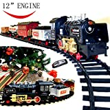 Joyin Classic Holiday Electric Premium Train Set (BIG Train, 12'' Engine) with Lights, Sounds and Remote Control 5 Train Cars and Tracks for Christmas Toy, Christmas Gift Christmas Tree Decor