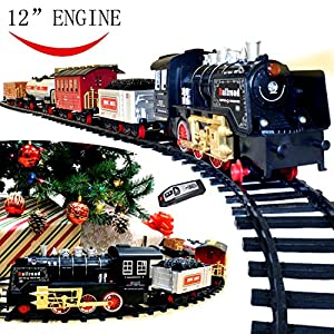 Joyin Classic Holiday Electric Train Set (BIG Train, 12'' Engine) with Lights, Sounds and Remote Control 5 Train Cars and 16 Tracks for Christmas Toy, Christmas Gift and Christmas Tree Decoration