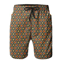 Vvw4 Geometric Triangle Quick Dry Water Beach Board Shorts Surfing Trunks With Poket For Men