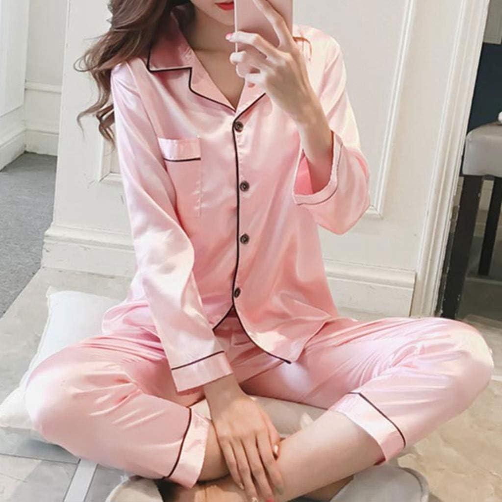 FashionNEW 1 Set Women's Faux Silk Pajamas Set Girls Ladies